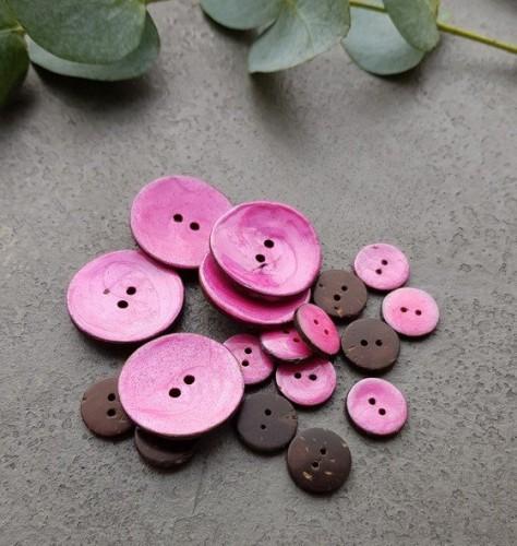 Kokosnussknopf lackiert pink 15/30 mm