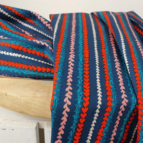 Art Gallery Fabrics Premium Baumwollstoff Everlasting Blau Bunte Herzen