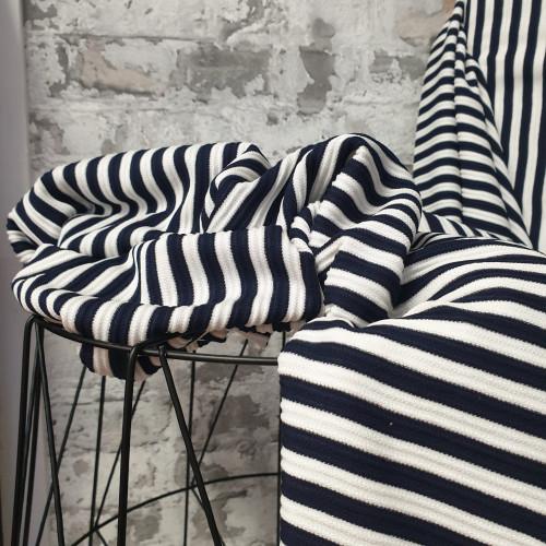 Burda Style Viskosejersey Rippe Streifen Blau Weiß