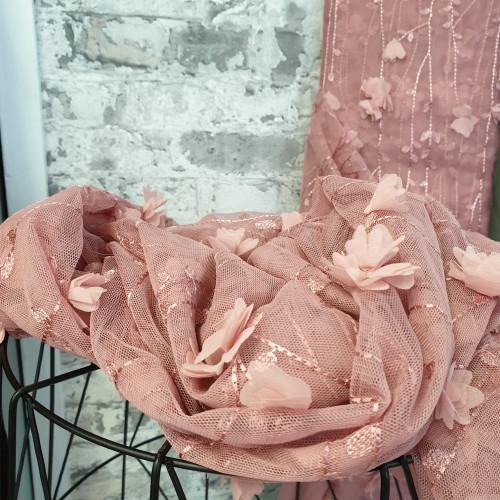 Tüll Bestickt Blumen Altrose