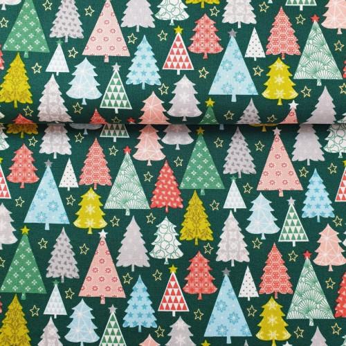 Makower UK Baumwollstoff Merry Trees