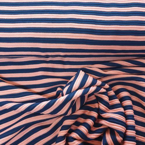 Burda Style Viskose Blau Lachs Gestreift