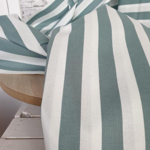 Westfalenstoffe Baumwollstoff Capri Blockstreifen Grün Weiß