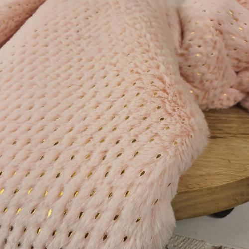 Hilco Kunstfell Goldene Punkte Rosa