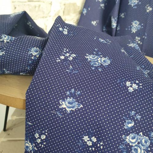 Westfalenstoffe Baumwollstoff Delft Blumen Royalblau