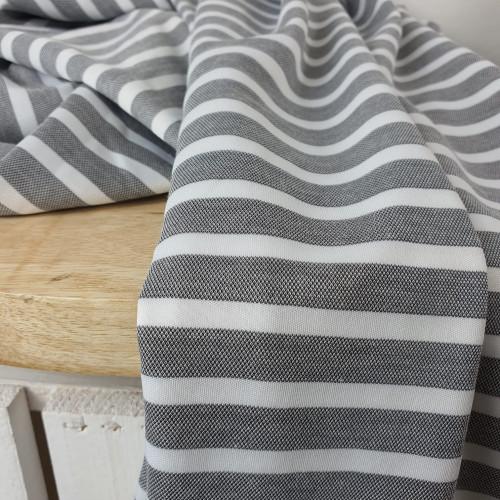 Viskose Gemisch Streifen Weiß Grau