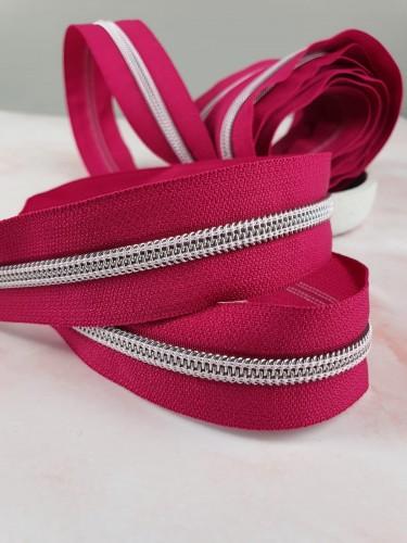 Endlosreißverschluss Metallisiert Pink Dunkel