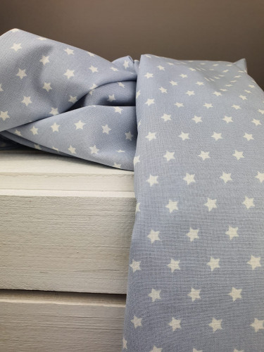 Westfalenstoffe Baumwollstoff Druckstoff Lyon Sterne Grau Weiß