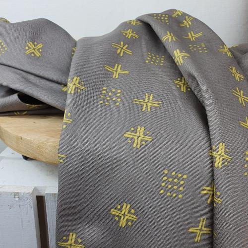 Art Gallery Fabrics Canvas Punkte Striche Grau Braun
