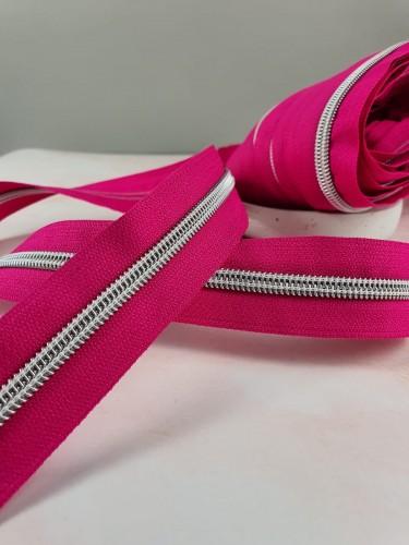 Endlosreißverschluss Metallisiert Pink Mittel