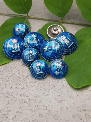 Metallknopf blau